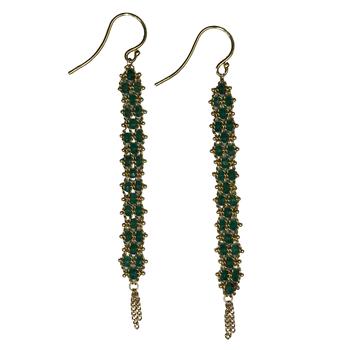 Emerald Textile Woven Drop Earrings