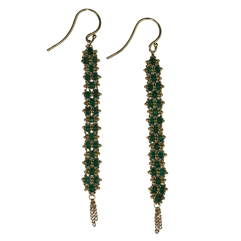 Amali Emerald Textile Woven Drop Earrings