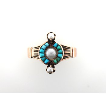 Turquoise & Seed Pearl Ring