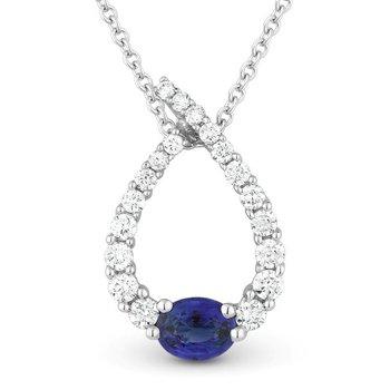 Diamond & Sapphire Pear Necklace