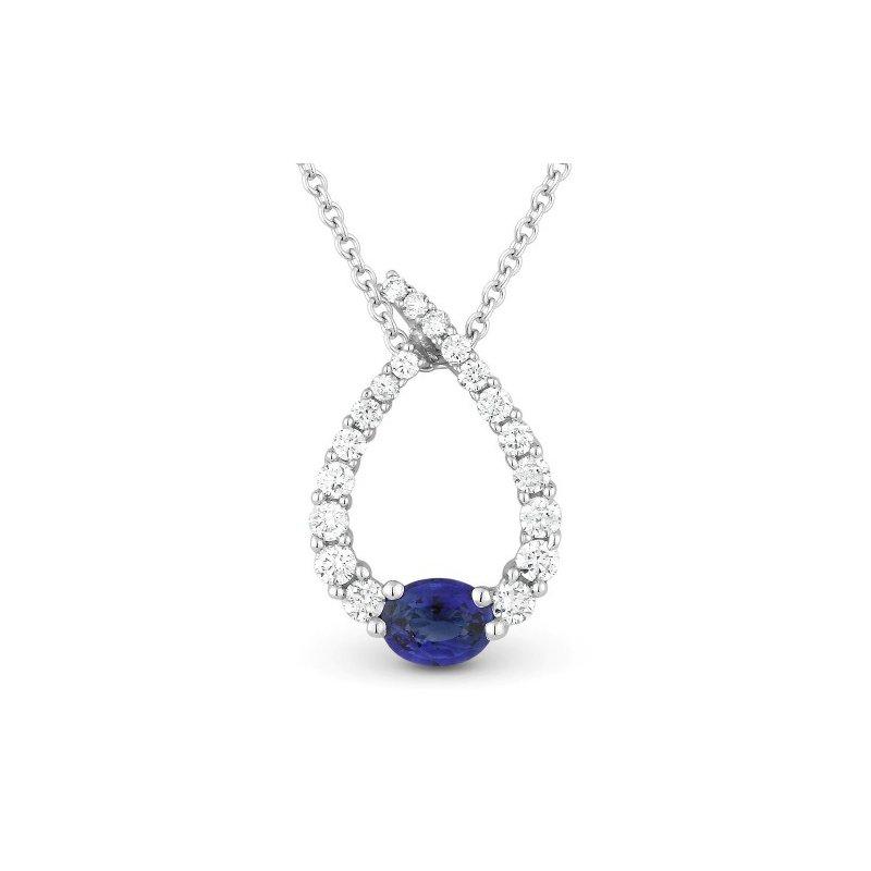 Madison L Diamond & Sapphire Pear Necklace