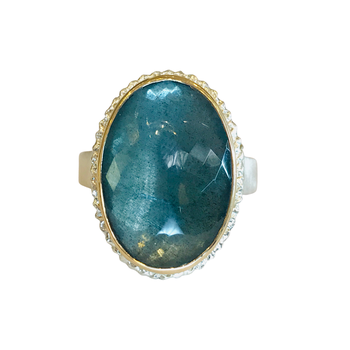 Oval Faceted Moss Aquamarine Ring