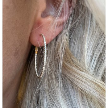 30mm Diamond Inside/Outside Hoop Earrings - Yellow Gold