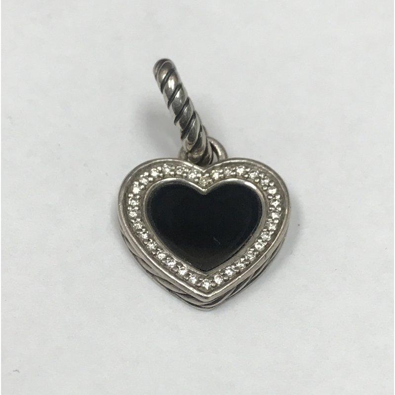 Antique, Estate & Consignment Pre-Owned David Yurman Onyx & Diamond Heart Pendant