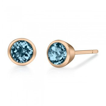 London Blue Topaz Bezel Set Stud Earrings