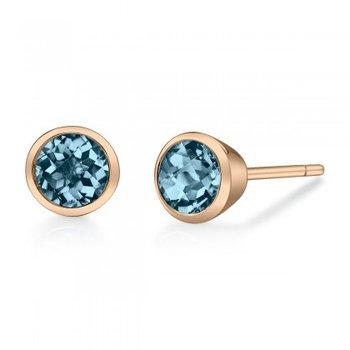 London Blue Topaz Bezel Set Stud Earrings