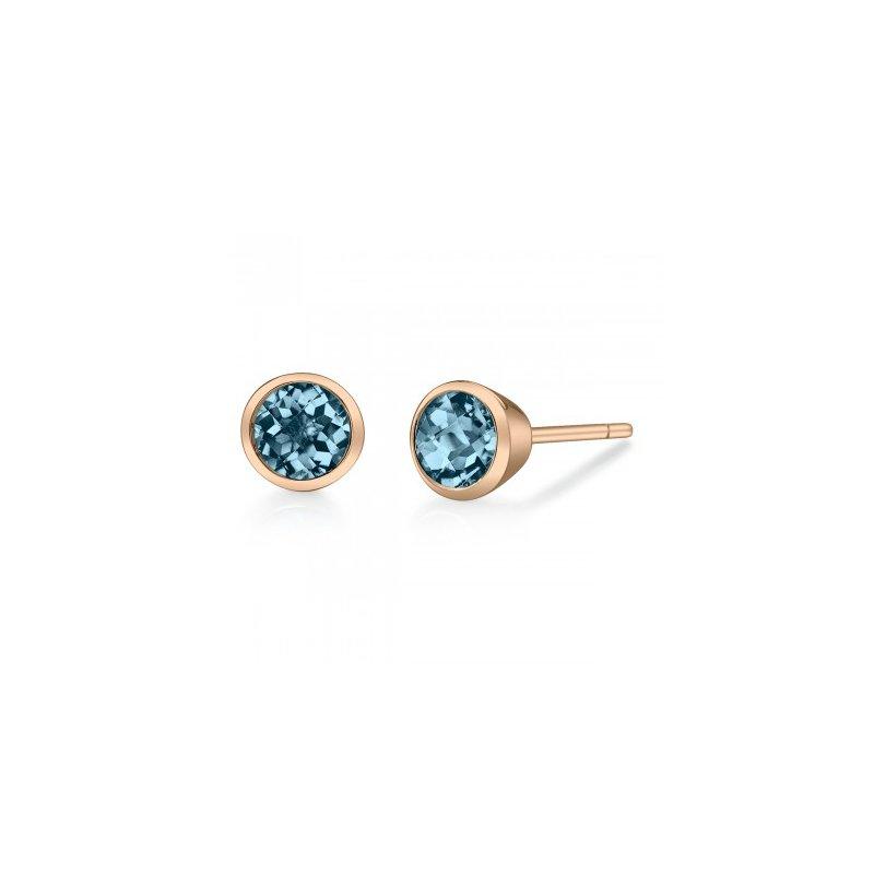 Stanton Color London Blue Topaz Bezel Set Stud Earrings