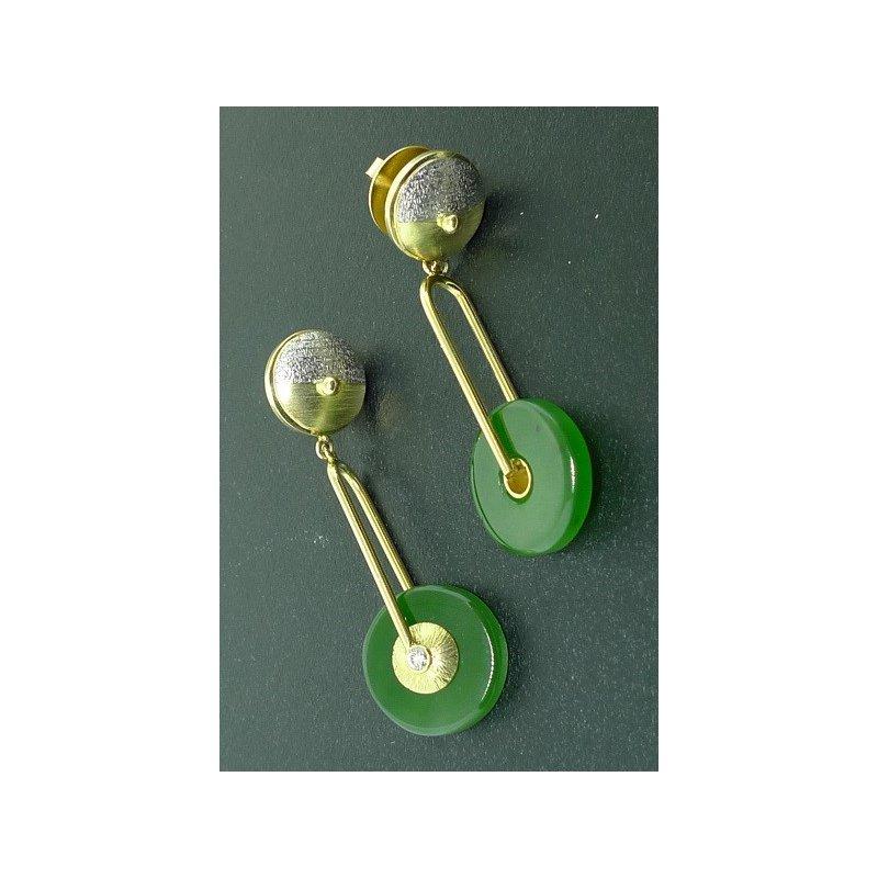 Richard Kimball Nephrite & Pearl Earrings