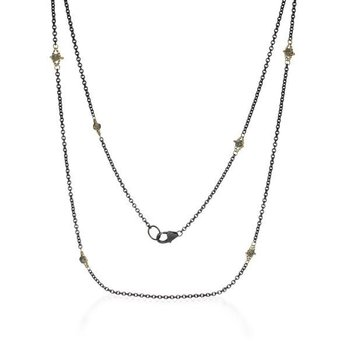 Oxidized Sterling Silver and Silver Diamond Station Necklace