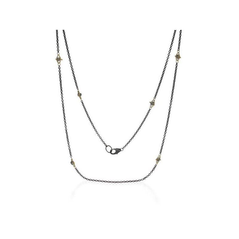 Amali Oxidized Sterling Silver and Silver Diamond Station Necklace