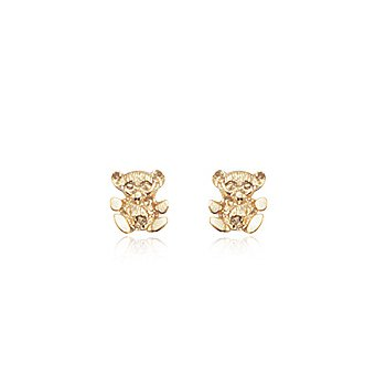 Gold Teddy Bear Stud Earrings