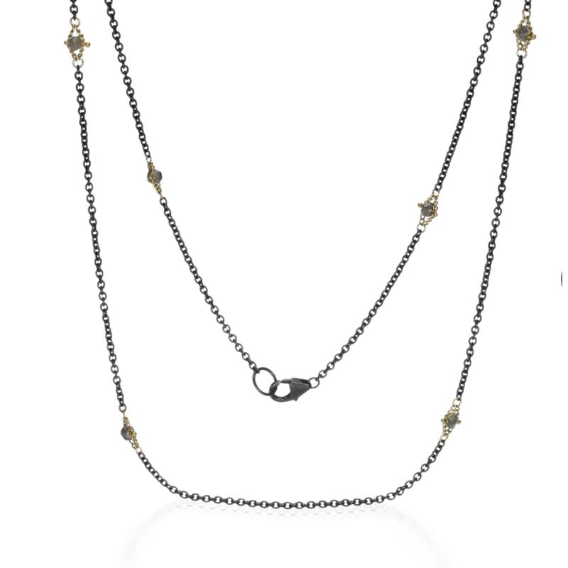 Amali Oxidized Sterling Silver Champagne Diamond Textile Necklace