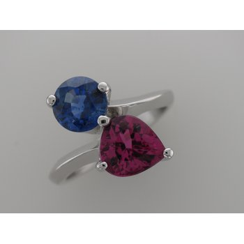 Platinum Tourmaline & Sapphire Ring