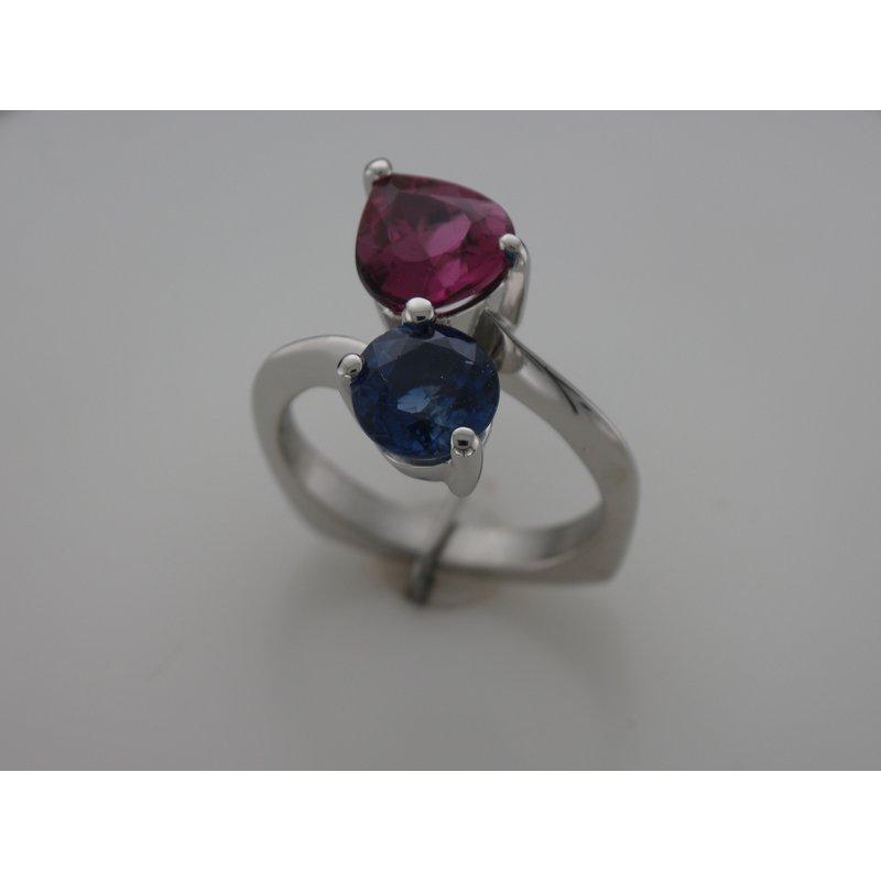 Hurdle's Custom Designs Platinum Tourmaline & Sapphire Ring