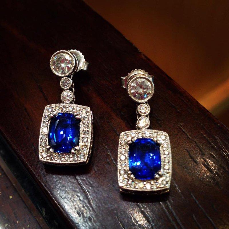 Hurdle's Custom Designs Diamond & Sapphire Earrings