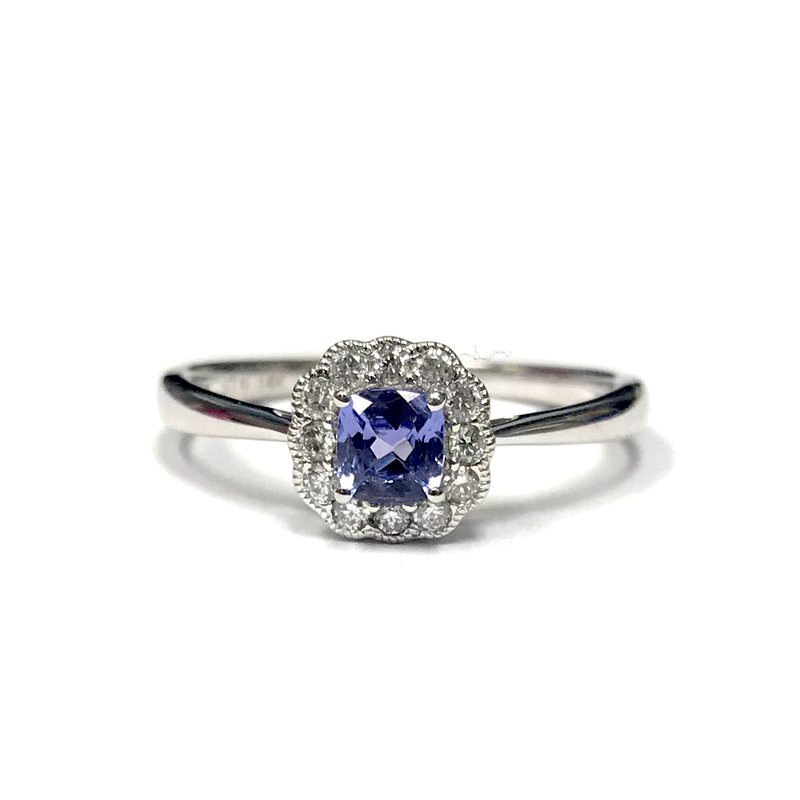 Stanton Color Tanzanite & Diamond Halo Ring
