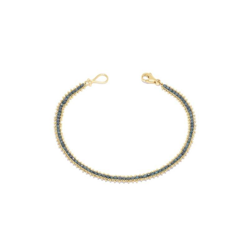 Amali Textile Row Bracelet in Blue Diamond