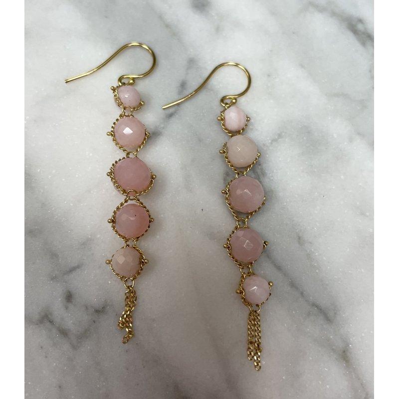Amali Pink Opal Textile Earrings