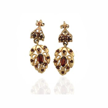 Gold & Garnet Earrings
