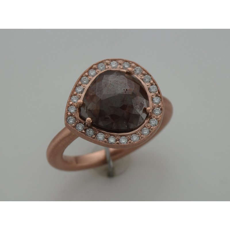 Hurdle's Custom Designs Rose Cut Diamond Halo Ring - Rose Gold
