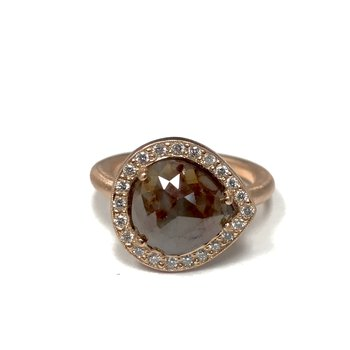 Rose Cut Diamond Halo Ring - Rose Gold
