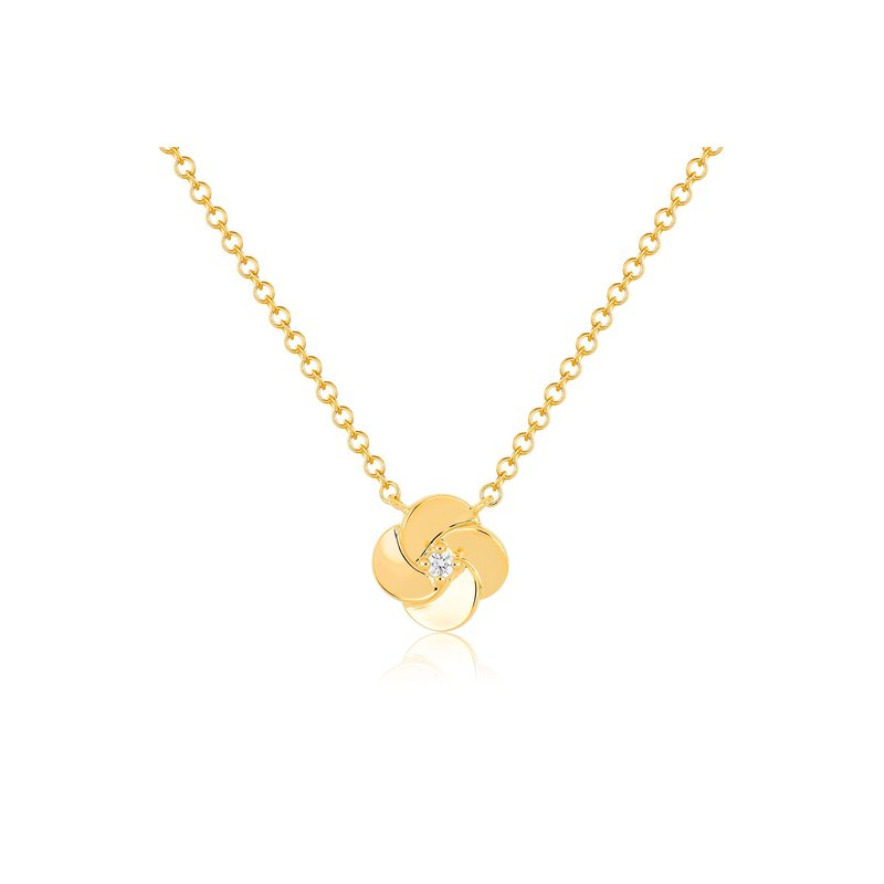 EF Collection Gold And Diamond Petal Necklace
