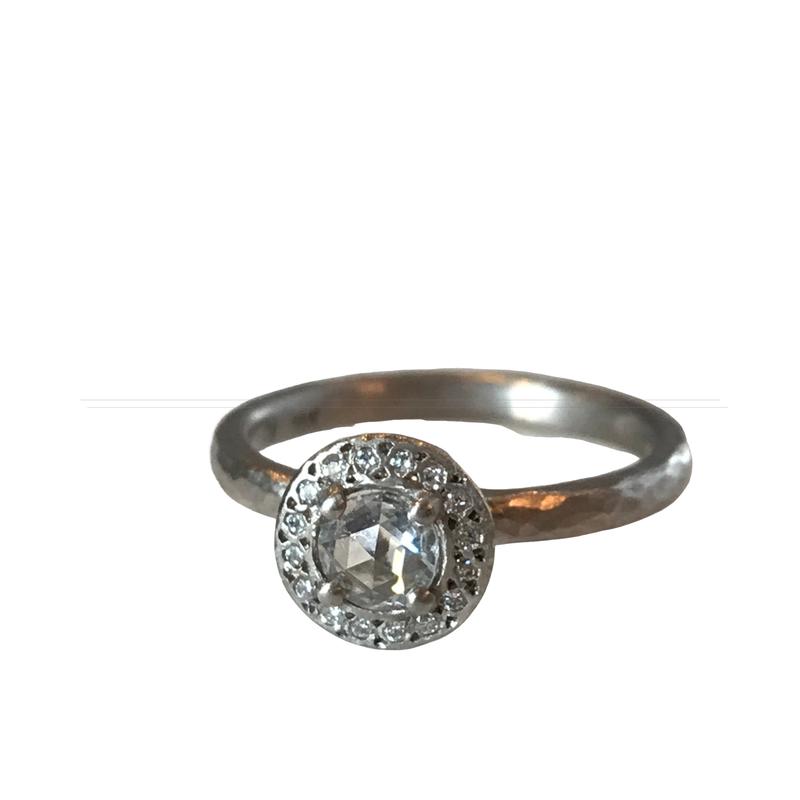 Yasuko Azuma Jewelry Rose Cut Diamond Halo Ring - 18k Palladium