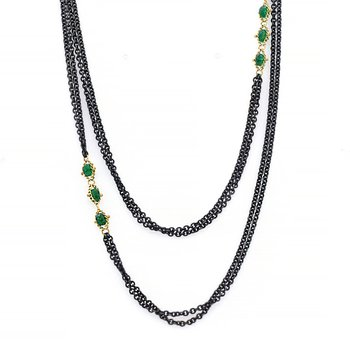 Triple Textile Emerald Station Necklace