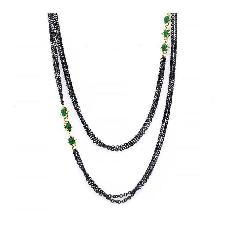 Amali Triple Textile Emerald Station Necklace