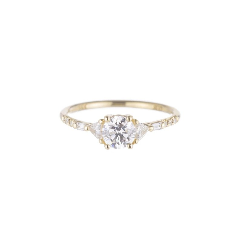 Jennie Kwon Round Diamond Trillion Baguette Equilibrium Ring