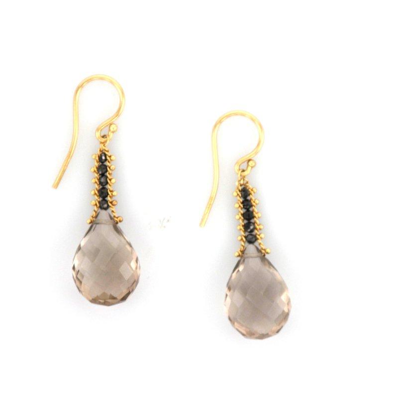 Amali Cognac Quartz & Black Diamond Earrings
