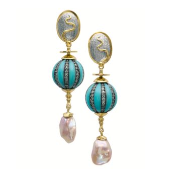 Keshi Pearl & Turquoise Earrings