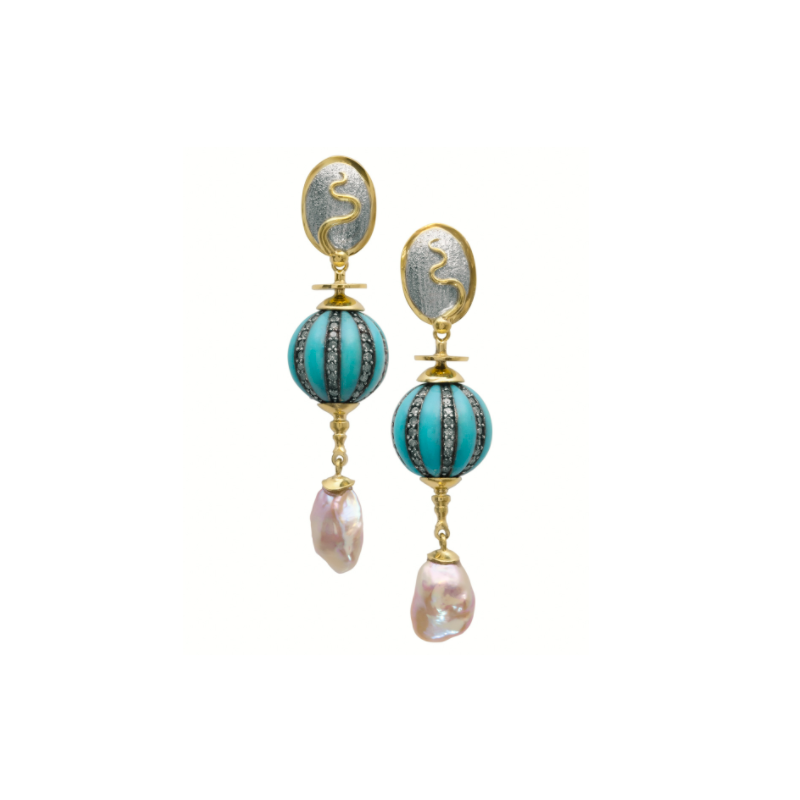 Richard Kimball Keshi Pearl & Turquoise Earrings