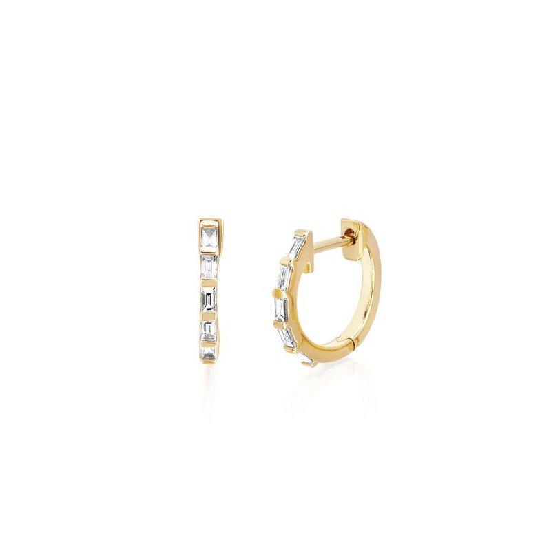 EF Collection Diamond Baguette Huggie Earring