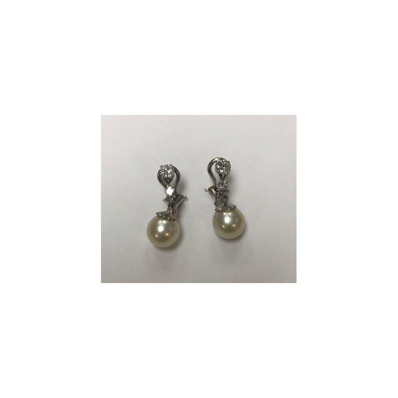 Antique, Estate & Consignment Diamond & Pearl Dangle Earrings