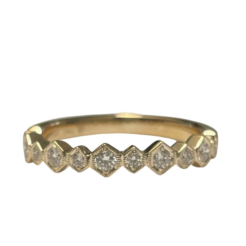 Beverley K Hexagon Milgrain Diamond Band