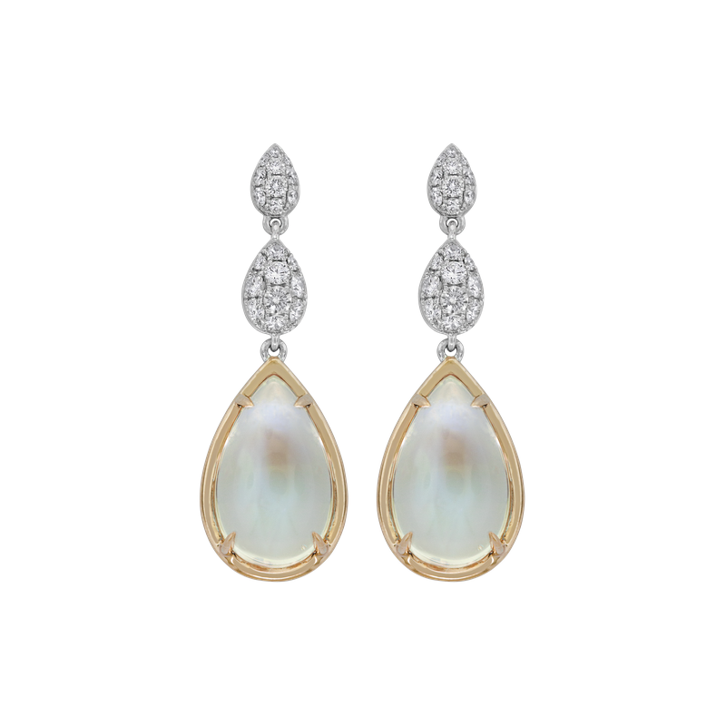 Spark Creations Moonstone & Diamond Earrings