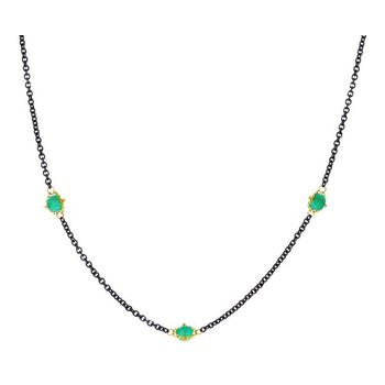 Oxidized Sterling Silver Emerald Station Necklace