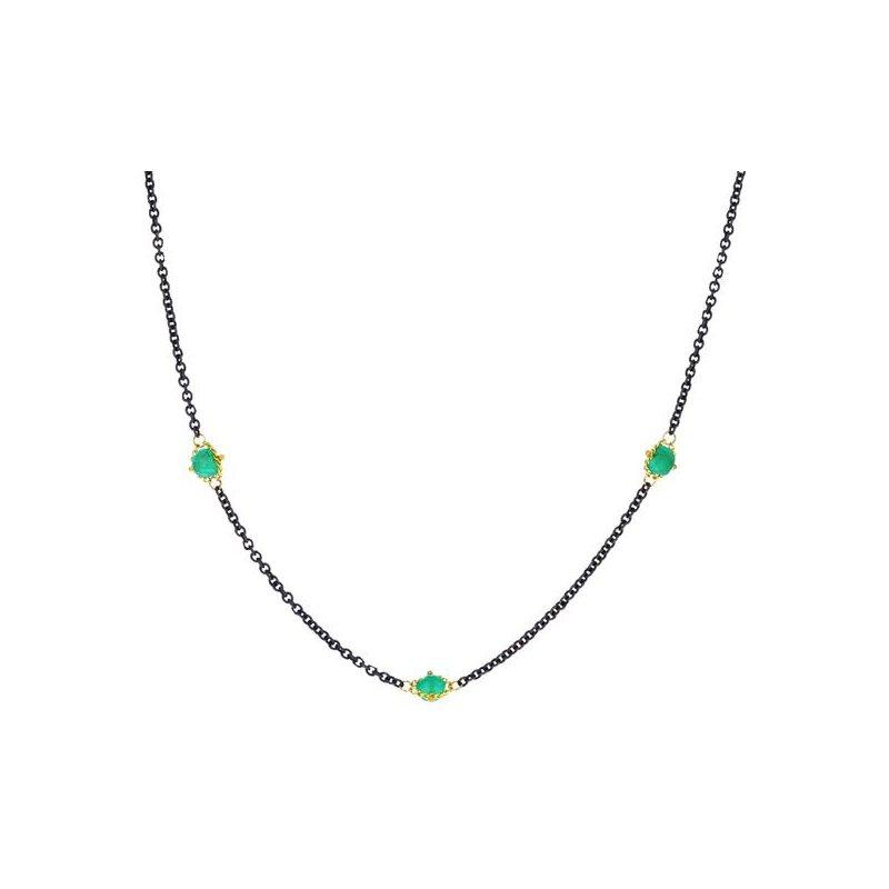 Amali Oxidized Sterling Silver Emerald Station Necklace