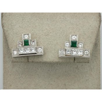 Geometric Diamond & Emerald Earrings