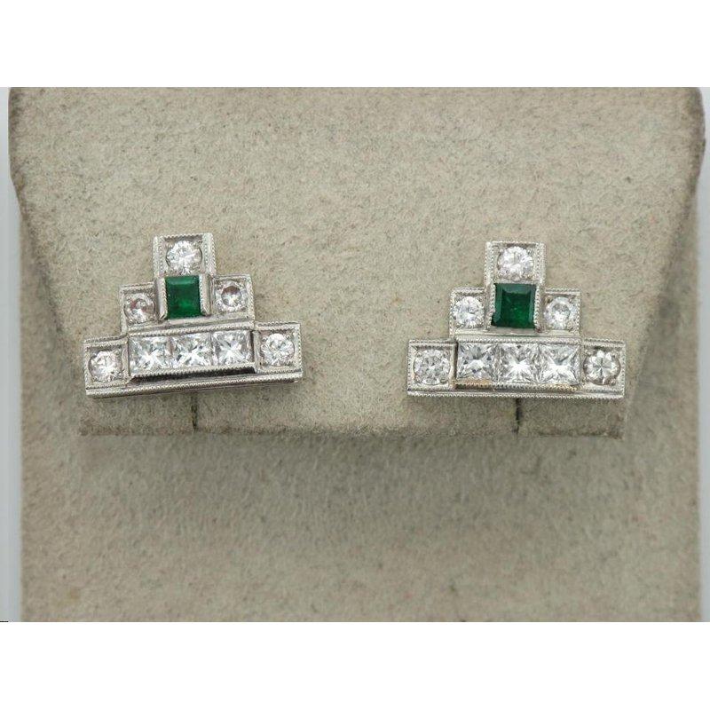 Antique, Estate & Consignment Geometric Diamond & Emerald Earrings