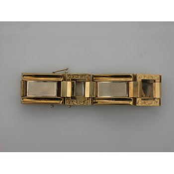 Two Tone Gold Square Link Bracelet