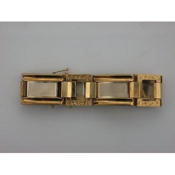 Two Tone Gold Square Link Bracelet