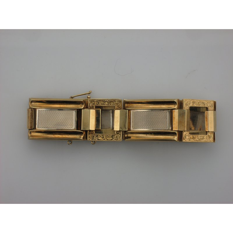 Antique, Estate & Consignment Two Tone Gold Square Link Bracelet