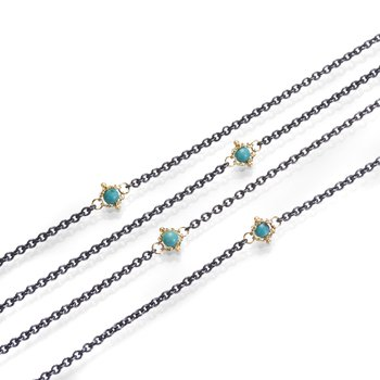 Oxidized Sterling Silver Turquoise Station Necklace