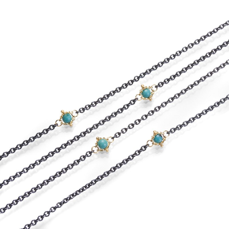 Amali Oxidized Sterling Silver Turquoise Station Necklace