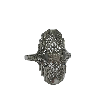 Elongated Filigree Diamond Ring