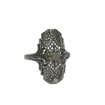 Elongated Filigree Diamond Ring