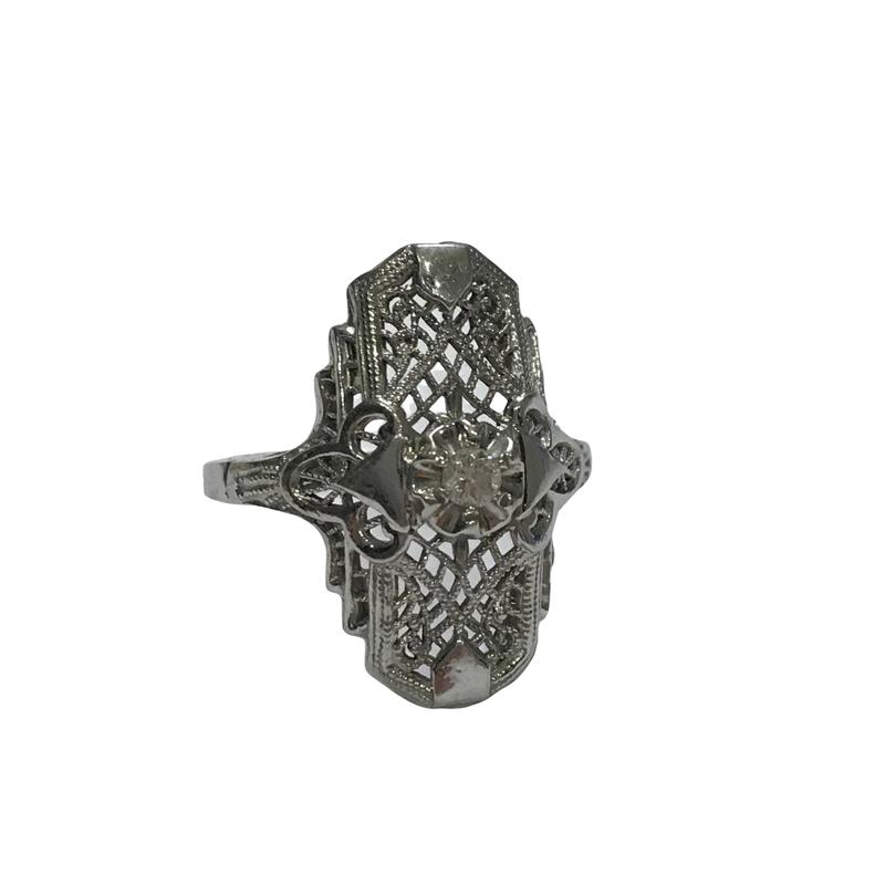 Antique, Estate & Consignment Elongated Filigree Diamond Ring