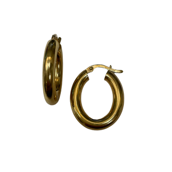 Oval Hollow Hoop Earrings